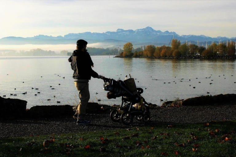 Person mit Kinderwagen am See