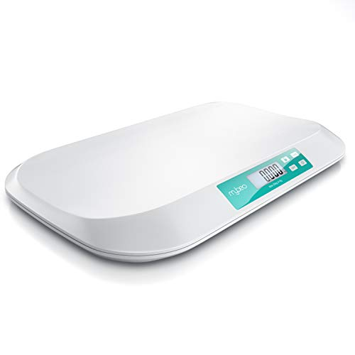 MyBeo - Babywaage digital - Wiegefläche 54 x 26 cm - 50 g bis 20 kg - 5 Gramm Genauigkeit - Tierwaage - Kinderwaage - für Babys Tiere - 3 Zoll 7,6 cm Display - Touchbuttons
