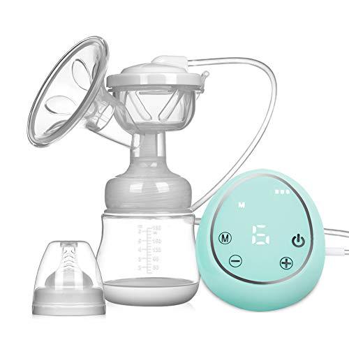 Elektrische Milchpumpe Brustpumpe, Einzel Muttermilch Abpumpen inkl. Schnuller aus Silikon mit Massage & Absaugung (Grün)-EINWEG