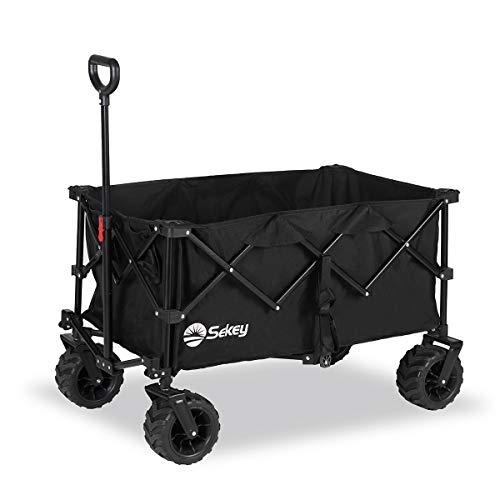 Sekey Faltbarer Bollerwagen, tragbarer Strandwagen Außenwagen Faltwagen, Trolley Outdoor Folding Wagon, Schwarz…