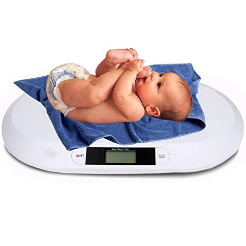 Kinderwaage Babywaage Digital mit LCD Display bis 20KG 56x26cm Waage Säuglingswaage Digitalwaage Stillwaage Küchenwaage Tierwaage Farbe: Weiss