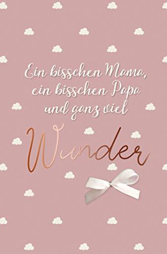 PremiumLine Glückwunschkarte zur Geburt mit kleiner weißer Schleife inkl. Briefumschlag Baby Glückwünsche Mädchen Grußkarte