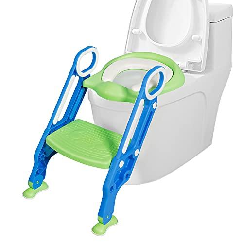 COSTWAY Kinder Toilettensitz höhenverstellbar, Kindertoilette faltbar, Toilettentrainer mit Leiter und Griffe, Töpfchentrainer zum Toilettentraining für Kleinkinder von 1 bis 8 Jahre (Blau + Grün)