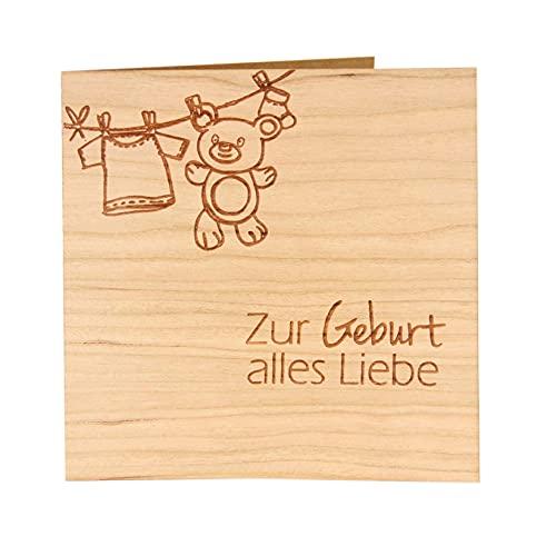 Original Holzgrußkarte - Glückwunschkarte Baby Geburt - 100% Made in Austria, besteht aus Kirschholz - Karte zur Geburt, Geburtskarte, Geschenk zur Geburt, Grußkarte, Babykarte uvm.