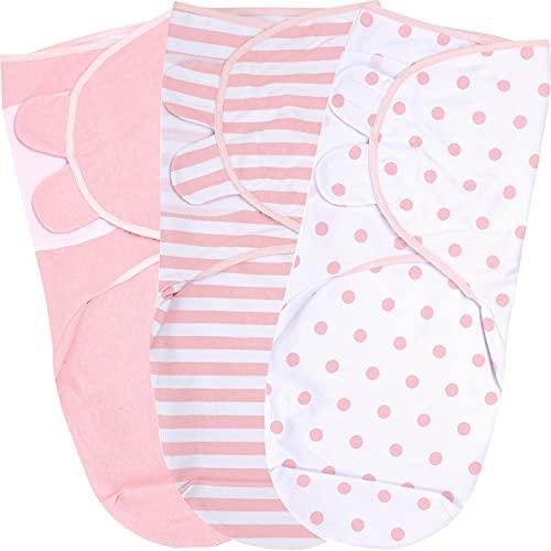 Pucksack Baby, Wickeltuch für Säuglinge (0-3 Monate), verstellbares Wickeldecke für Neugeborene, 3er-Pack Pucktuch, 100% Bio-Baumwolle Swaddle Decke
