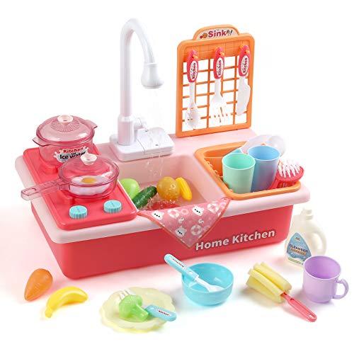LIHAO Küchenspielzeug Küchenzubehör Set Kinder Spülbecken mit Zubehör Kinderwaschbecken Rollenspiel Mini Küche Spielküche als Geschenke für Jungen Mädchen 3 bis 6 Jahre(MEHRWEG)