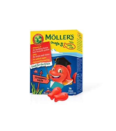 Möller's Omega 3 Kapseln für Kinder   Natürliche Omega 3 Fischtran mit Erdbeergeschmack   Mit DHA und EPA   Leicht zu kauen   Ohne Gluten, Laktose und Zucker   36 Stück