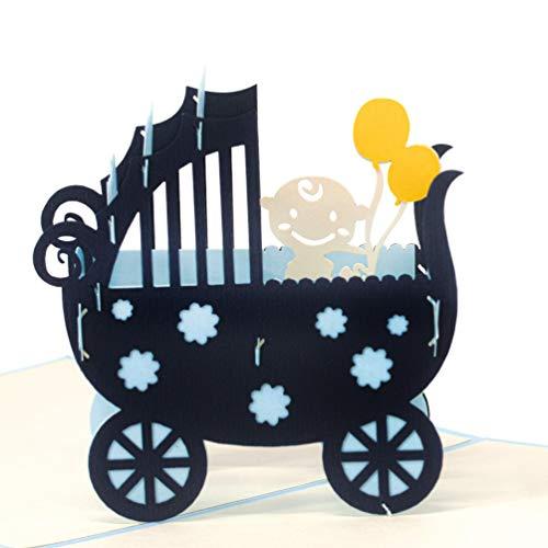 LIMAH® Pop Up Glückwunschkarte für Jungen zur Geburt, Baby-Karte Geburtstagskarte für Neugeborene. Mit einem 3D Kinderwagen und Baby. Its a Boy (blau)