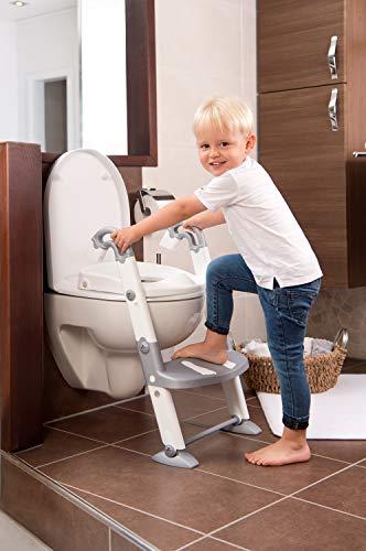 Rotho Babydesign KidsKit 3-in-1 Toilettentrainer, Ab 18-36 Monate, Aufbau-Maße zusammengeklappt: 41,5 x 25 x 67 cm (LxBxH), Grau/Weiß, 600060240