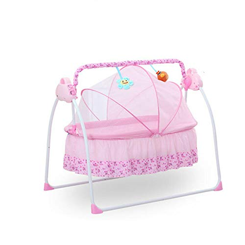 Wupyi2018 Babywiege, elektrisch, mit Moskitonetz, drei Schaukelmodi, integrierter MP3-Musik-Player, geeignet für Babys unter 18 Monaten (Rosa)