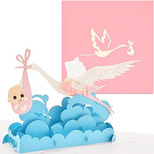 PaperCrush® Pop-Up Karte Baby Geburt Mädchen - 3D Geburtskarte, Glückwunsch zum Baby, Glückwunschkarte zur Geburt der Tochter - Handgemachte Geschenkkarte, Babykarte, Popup Karte mit Storch