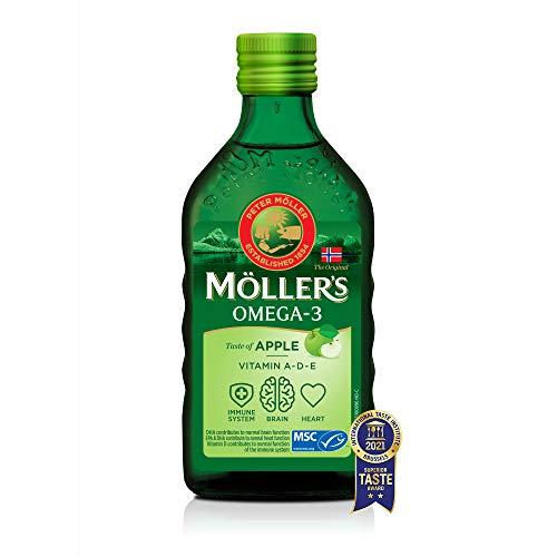 Möller's Omega 3 Lebertran Öl   Nordic Omega 3 Nahrungsergänzung mit EPA, DHA, Vitamin A, D, E   Superior Taste Award   Hochreiner natürlicher Lebertran   165 Jahre alte Marke   Apfel   250 ML
