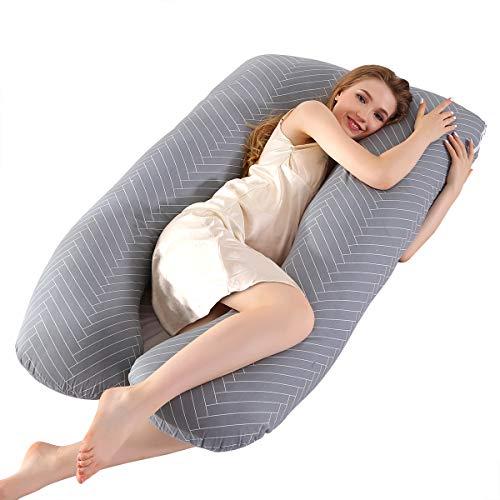 Körperkissen mit bezug, Seitenschläferkissen, U-förmiges Body Pillow, Stützkissen, Schwangerschaftskissen abnehmbar, waschbar, 70 x 145 cm (Grau gestreift)