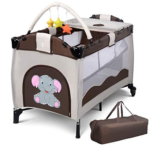 DREAMADE Babybett mit Spielzeug, Babywiege Komplettset, Stubenwagen Baby Reisebett Klappbar, Kinderbett Kinderreisebett mit Rollen und Bremse (Braun)
