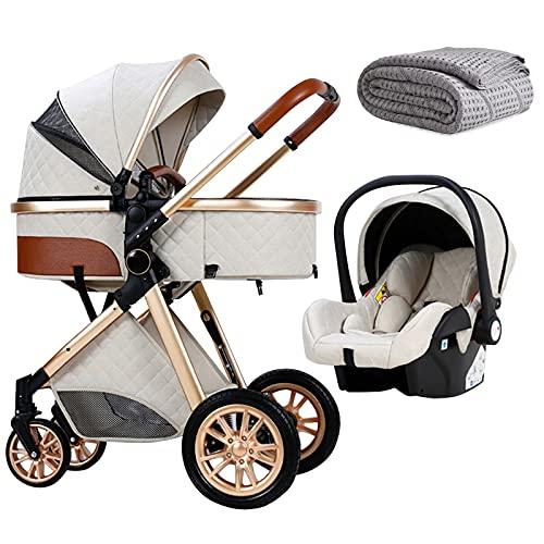 HHGO Kinderwagen 3 In 1 Kinderwagen Kinderwagen Organizer Große Mommy Tasche Regenschutz Luxus Dämpfung Kinderwagen Jogging Kinderwagen, Blau (Color : Beige)