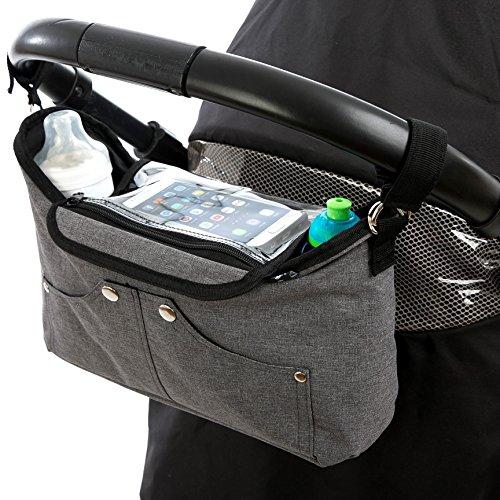 BTR Kinderwagen Organizer Tasche & Smartphone-Halter, Buggy Organizer mit klappbarer Handy-Tasche & 2 Kinderwagen Clips. Grau. Recycelbare Verpackung