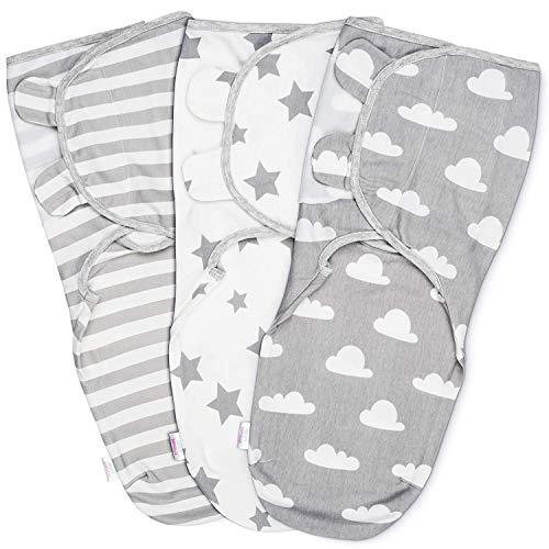 Baby Pucksack Wickel-Decke 100% Bio-Baumwolle - 3er Pack Universal Verstellbare Schlafsack Decke für Säuglinge Babys Neugeborene 0-3 Monate Grau